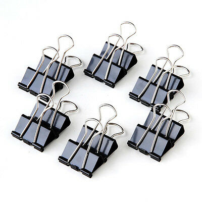 12pcs/Box Metal Binder Clips 41mm Width File Paper Document Office Black Fashion