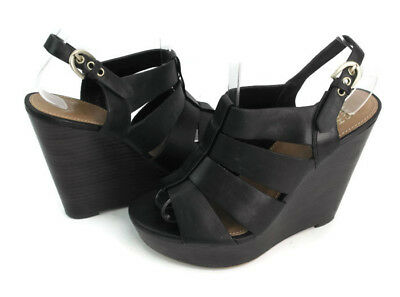 87bcf4c44a SAKS FIFTH AVENUE GINGER Women's Black :Leather Strappy Wedge Sandals Size  6 - EUR 21,35   PicClick FR