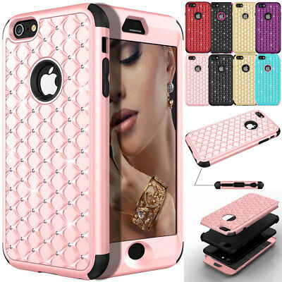 Bling Rhinestone Crystal Rubber Hybrid Hard Women Cover Case for iPhone 6s Plus
