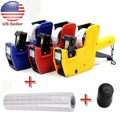 3 IN 1 8 Digits EOS Price Tag Gun MX-5500+5000 White/ Red Lines Labels+1 Ink SS