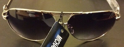 MICHAEL KORS Round AVIATOR SILVER w Grey Black Lens Sunglasses GREAT CONDITION