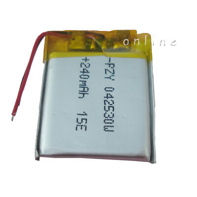 Polymer Li  battery 3.7V 240 mAh for GPS Bluetooth pen driving recorder   042530
