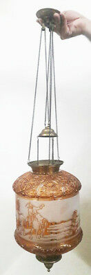 Antique Signed French Baccarat Glass Hall Lamp Lantern Chandelier Shade