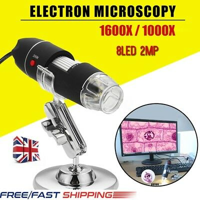 1600X/1000X 8 LED USB2.0 Zoom Digital Microscope Hand Held Endoscope UK STOCK