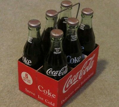 Coca Cola - Coke Old 6 Pack Metal Handle Cardboard Carrier-With Bottles RARE