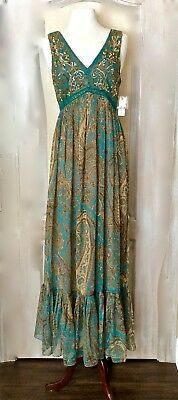 NWT Anthropologie Ranna Gill turquoise Sequin Paisley Gown Maxi Dress 10