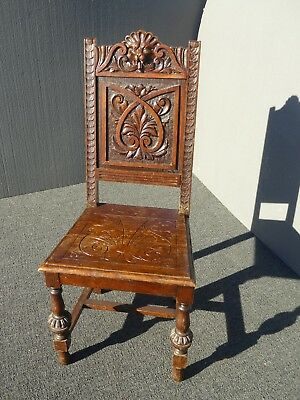 Vintage Spanish Style Ornately Carved Oak Wood Lion Head Motif Accent Side Chair