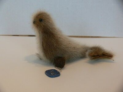 """Small Seal Fur Plush Toy, Handmade in Norway, 5"""" x 3"""""""