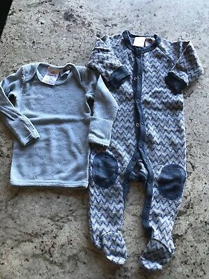 Superfit 100% Merino Wool Bodysuit & Long Sleeve Top Sz 0-3mths
