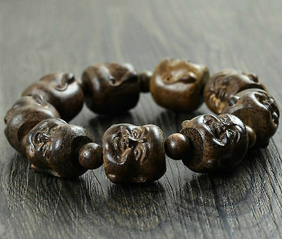20MM Nice Natural Blackwood Laughing Buddha Beads Wood Bracelet For Cool