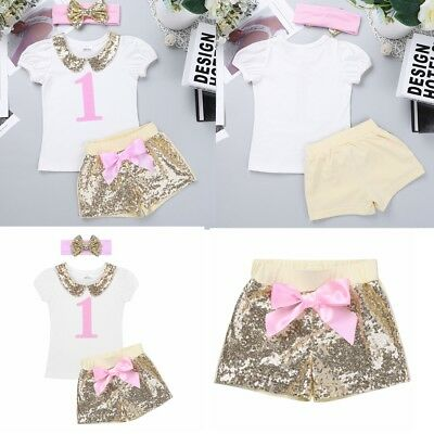 It's My First 1st Birthday Bowknot Outfits Sets Infant  Baby Girls Tutu Clothing