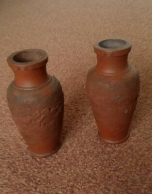 pair of old vintage chinese pottery vases