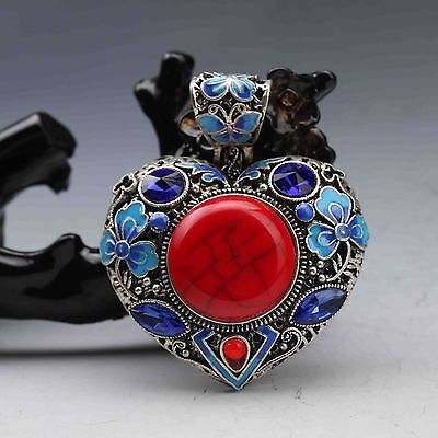 Tibetan Silver Cloisonne Inlay Natural Heart shape Pendant