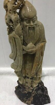 antique chinese soapstone elder figurine 18 cm tall