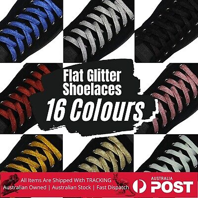 Glitter Shoelaces Flat Glittering Sparkle Bling Shoe Laces 110cm Length Metallic
