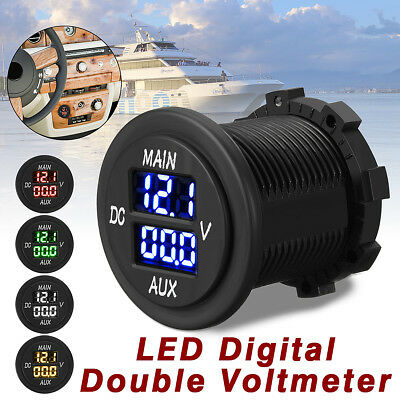 LED Dual Voltage Gauge Battery Monitor Panel Fit 12V-24V Car Motorcycle Boat RV