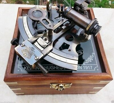 Antique Collectible Nautical Brass Working German Marine Wooden Box w/ Sextant