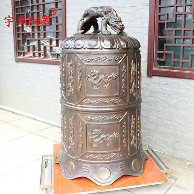 52'' China Temple Large Bell Carve Dragons Beast Bronze Statue