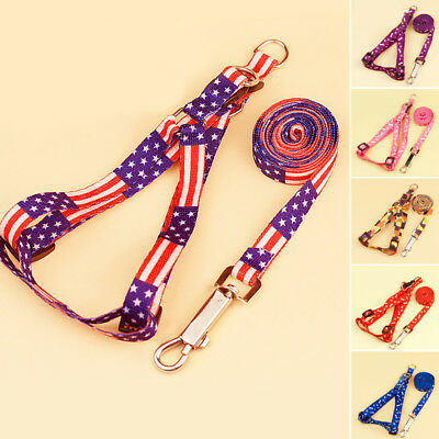 Small Dog Pet Puppy Cat Adjustable Nylon Harness w/ Lead leash Traction rope Use