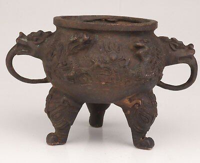 Old Bronze Statue Sacred Dragon Consecrate Incense Burner Collection