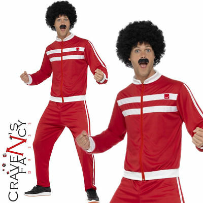 Adult 80s Scouser Tracksuit Costume Shellsuit Mens 1980s Fancy Dress Outfit New