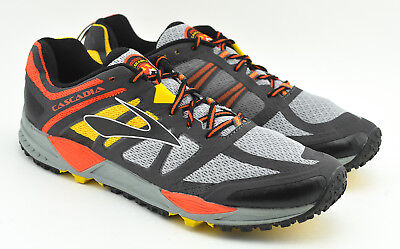 5362cf749f4 Mens Brooks Cascadia 11 Trail Running Shoes Size 12.5 Yellow Orange Gray  Navy