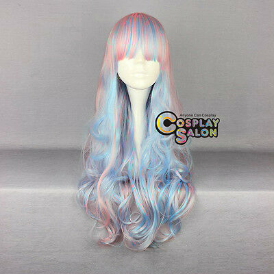 Ombre Lolita Anime Pink Mixed Blue Mixed White Long Curly Cosplay Wig