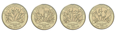 2018 XXI Commonwealth Games 4x $1 Dollar Coins UNC