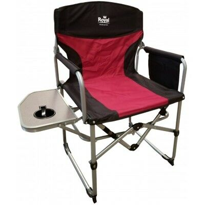 Royal Compact Directors Chair with Table Burgundy/Black