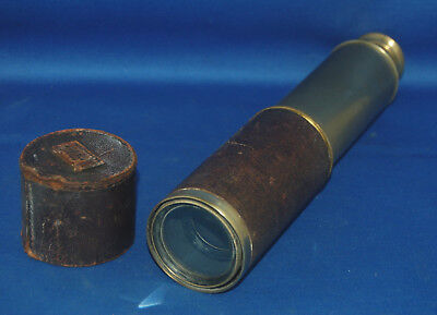 A Victorian era large and good quality brass three draw leather clad telescope