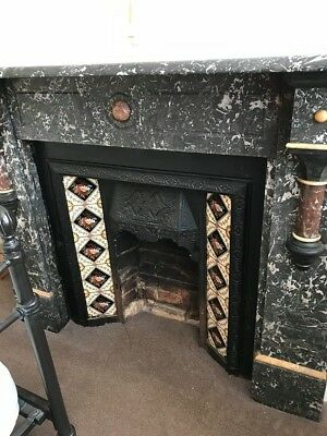 Antique Victorian (original) Fire Surround (fireplace) in black and white marble