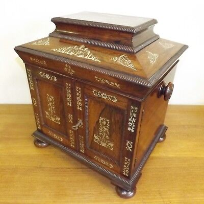 Table Cabinet Box 'William IV' Rosewood And Mother Of Pearl. c.1835