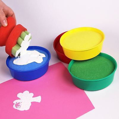 Paint Dipping Bowls Painting Sponges Make Your own Paint Pads 4 Coloured Pots