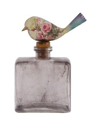Glass Perfume Bottle with Bird Stopper Vintage Retro Ornament Decoration NEW