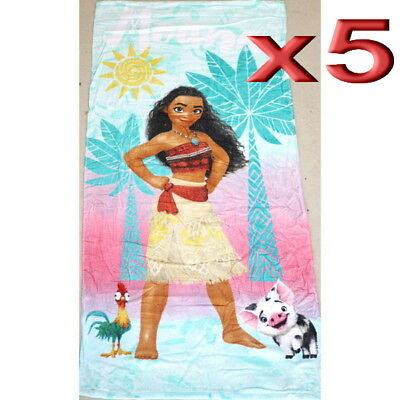 5pc Wholesale 100% Cotton Kids Girls Moana Bath Beach Towel 70x140cm