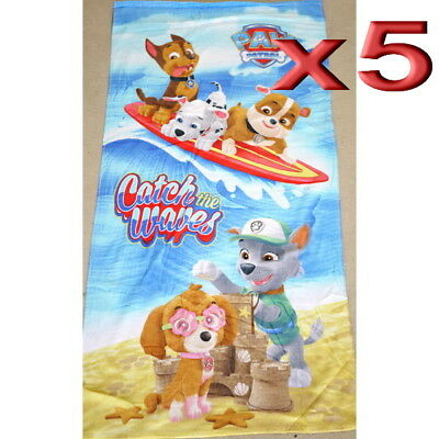 5pc Wholesale 100% Cotton Kids Boys Paw Patrol Bath Beach Towel 70x140cm