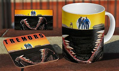 Tremors 90s Ceramic Coffee MUG + Wooden Coaster Gift Set
