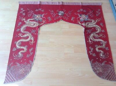 Antique Chinese Wall Hanging Door Curtain Altar Cloth Dragons Embroidery 19th c