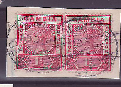 Gambia Gambia Cancelled Liverpool 1p Victoria Striptease of 2 one parcel Posted