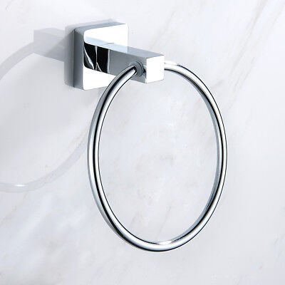Bathroom Towel Ring Holder Stainless Steel Round / Square Hand Wall Mounted UK