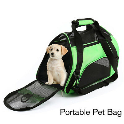 Folding Portable Small Pet Dog Cat Carrier Mesh Fabric Canvas Travel Bags Crate