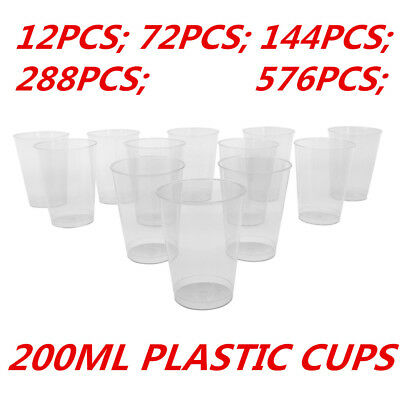 200ml Disposable Clear Hard Plastic Tumblers Cups Cup Party Wedding Events WMCV