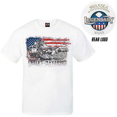 Harley Davidson Mens Hero T-Shirt White Swansea American Flag