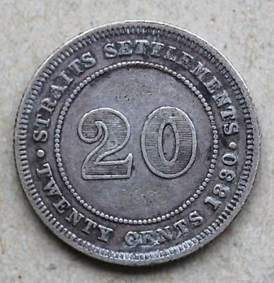 1880H Straits Settlements, 20 Cents,Silver, Scarce Date, KM12
