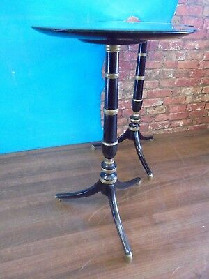 pair regency style ebonised tables,pair antique style mahogany lamp/side tables.