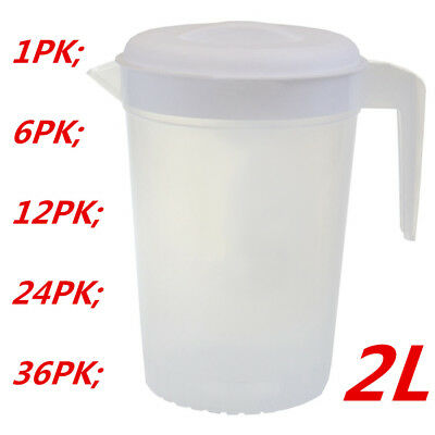 2L Plastic Pitcher with Lid Beer Water Juice Jugs Jug BPA FREE Dishwasher Safe M