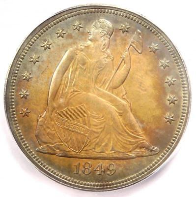 1849 Seated Liberty Silver Dollar $1 Coin - ICG MS63+ Plus Grade - $6,600 Value!
