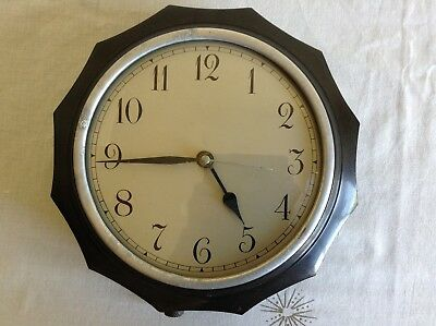 Vintage 1930s Bakelite Unusual Polygon Shaped Case Electric Wall Clock Needs Tlc