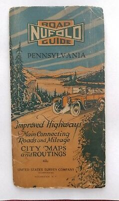 Vintage Nufold Guide Road Map of Pennsylvania 1921-22