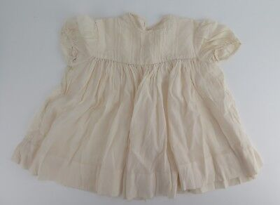 Antique raw silk cream coloured christening gown.